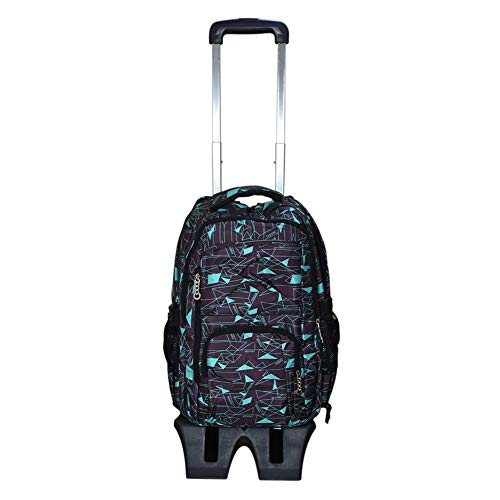 Hzjundasi Trolley School Bag Students Backpack - with Heightened Six Wheels Climbing Stairs - Rolling Shoulder Bag for Boys Girls Kids Children's (Coffee+Blue)