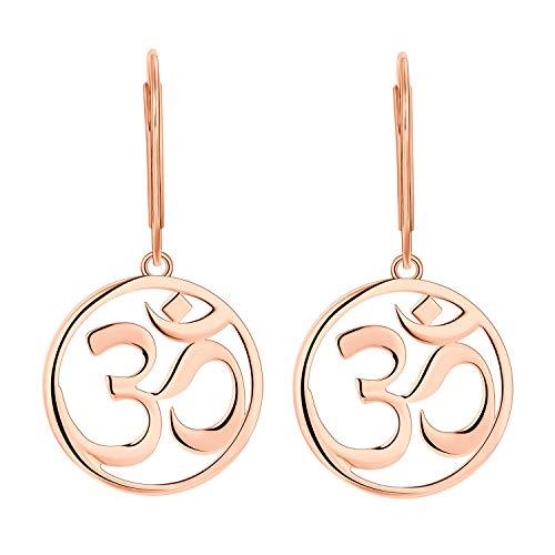 JO WISDOM Mujer Pendientes Yoga Indien Aum Om Ohm de plata de ley 925 con baño de oro rosa
