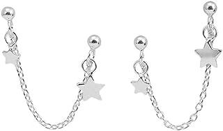 Star Double Piercing Tassel Chain Drop Dangle Cartilage Ball Bead Stud Earrings for Women Girls S925 Sterling Silver Doubl...