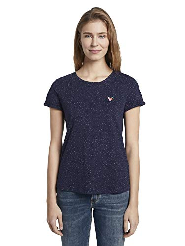 TOM TAILOR Denim AOP Artwork T-Shirt, Damen, Blau XL