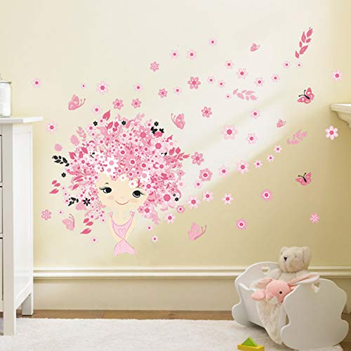 TAOYUE Flower Wall Decal for Kids Room Fairy Sticker for Girl Princess Castle Children Bedroom Wall Stickers Stickers Murals