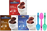 1 - 9.2 oz boxes of each flavor; 4 Packets per box: Dark Chocolate, Double Chocolate, Salted Caramel (12 pouches total) 1 - Set of 3 By The Cup Colorful Spoons; Colors may vary (Do Not Microwave Spoons) You'll need a microwave safe mug and 4 teaspoon...