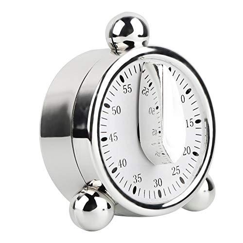 Temporizador de cocina de 60 minutos, de acero inoxidable, con forma de huevo mecánico, temporizador de cocina manual, recordatorio de cuenta atrás con alarma giratoria