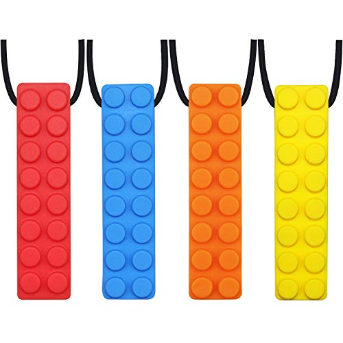 Sensory Chew Necklace, (4-Pack) Made from Food Grade Silicone Safety for Kids Teething, Silicone Chewy Sticks for Autistic, ADHD,Oral Motor Boys and Girls Children