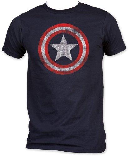 Captain America - Jersey Bouclier ajusté à Court T-Shirt à Manches dans la Marine, X-Large, Navy