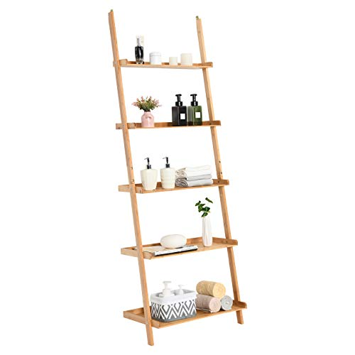 Tangkula Bamboo 5-Tier Ladder Shelf Bookshelf, Wall-Leaning Bookshelf, Plant Flower Stand, Storage...