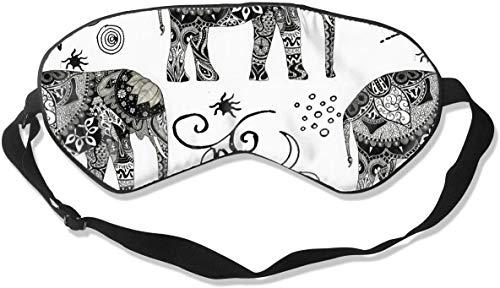 Natuurlijke Zijde Glad Oogmasker, Drukvrij Slaap Masker Verstelbare Blindfold, voor Volwassen Kinderen Tieners Slapen Shift Werk Naps Reizen Ooghoes, Boheemse Olifant Boho Wit Oogschaduw