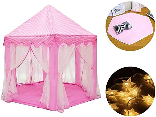 SMLZV Children Tent,Large Space Kids Play House,Children Hexagonal Mesh Tent for Indoor Outdoor Games,with Coral Velvet Mat and Star Lights ( Color : Mesh Tent )