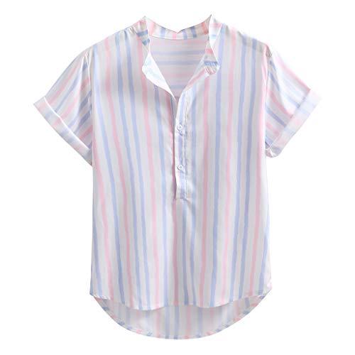 Tyoby Herren Hemd Stehkragen gestreiften Knopf lässig Hawaii Kurzarm Shirt Top Sommer Bequem Herrenbekleidung(Rosa,XXL)