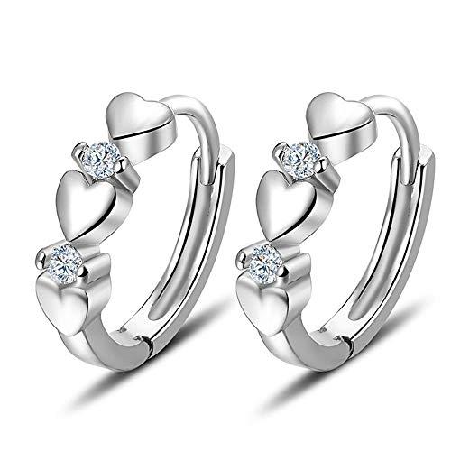 金桥s925 Pendientes brillantes en forma de corazón con forma de corazón y aguja de plata