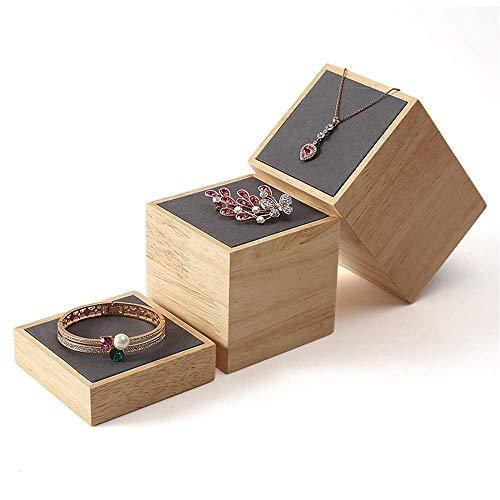 ADSE Estante de joyería 3 Piezas/Paquete Soporte de Anillo de joyería de Madera Escaparate Conteo Soportes de exhibición Decorativos Superiores Torres de joyería