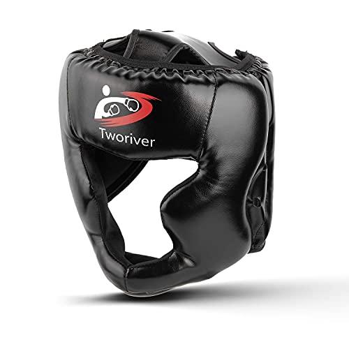 Outdors Boxen Kopfschutz, PU - Leder Chefquäler Sparring Helm für Boxen, MMA, UFC, Muay Thai, Kickboxing, Mixed Martial Arts - Schwarz