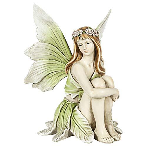 Teeyyui Feen Figuren Dekoration, Elfen Figuren Flower Fairy Mädchen Blumenfee Harz Statue Skulptur Zubehör für Outdoor Gartendekoration Handwerk (B)