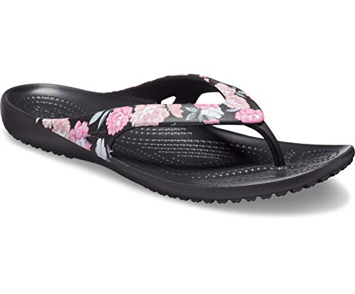 Crocs Women's Kadee II Floral Flip Flop|Casual Beach Sandal or Shower Shoe Black, 5 M US