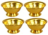 """HOME-X Gold Aluminum Bowls, Serving Dishes, Colorful Food Prep Bowls, Nesting Assorted Colors, Set of 4 – 4 ½"""" D x 2"""" H"""