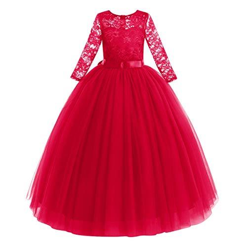 FYMNSI Vestido largo de noche para nias de 2 a 14 aos, para bodas, damas de honor, de fiesta, tul princesa, encaje, manga 3/4, vestido de cctel, primera comunin, baile rojo 13-14 Aos