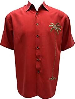 Bamboo Cay Men's Single Palm Embroidered Casual Hawaiian Button Down Shirt