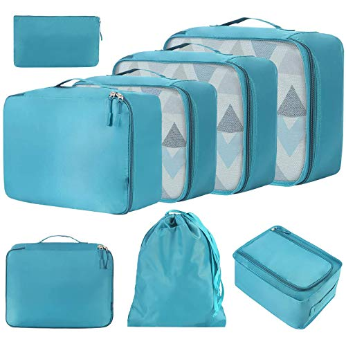 YuuHeeER Vacume Storage Essentials Light Weight Luggage Packing Travel Bag Organizers Cubes 8 Pcs