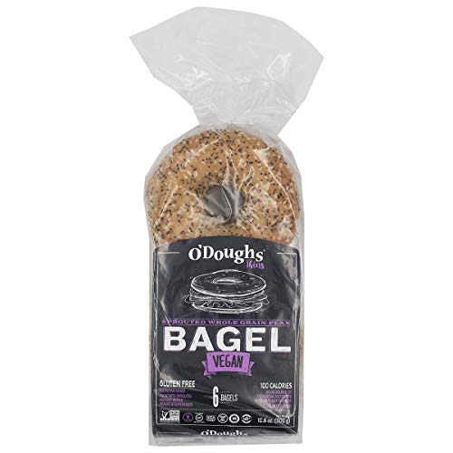 O'Doughs - Sprouted Whole Grain Flax Bagel Thins 10.6oz | Good Source of Fibre, Cholesterol Free, Trans Fat Free. | Pack of 6 |
