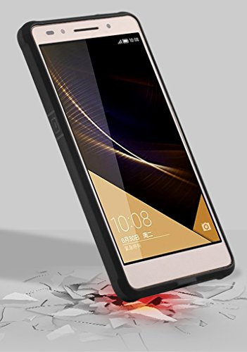 Schutzhülle Huawei Honor 7 Hülle, Business Serie Stoßfest Ultra Dünn Weich Silikon Rückseite Fall für Huawei Honor 7 (Schwarz) - 3
