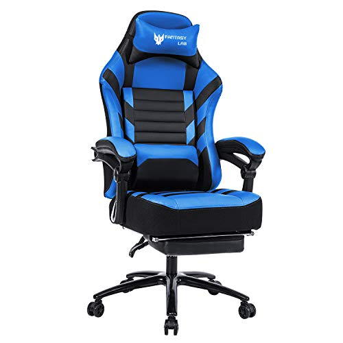 FANTASYLAB High Back Massage Memory Foam Reclining Gaming Chair Metal Base, 400lb Big and Tall Adjustable Back Angle and Retractable Footrest Ergonomic Leather Racing Computer Desk Office Chair (Blue)