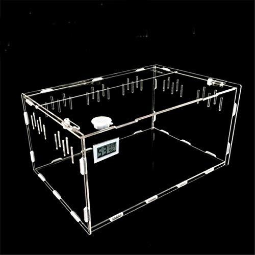 QHYX Tanque de Reptiles,Caja de alimentación con higrómetro de Temperatura para la araña Lagarto Tortuga Insecto Tanque de cría de acrílico Transparente Terrario de Reptiles para Mascotas,L