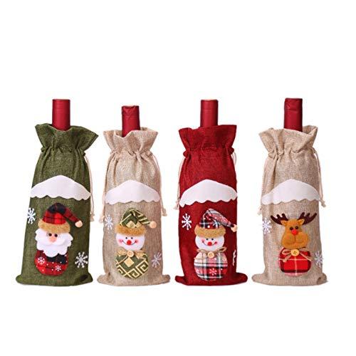 Basage 4 fundas para botella de vino de Papá Noel, decoración de Navidad, para el hogar, adornos de Navidad, regalos de Navidad