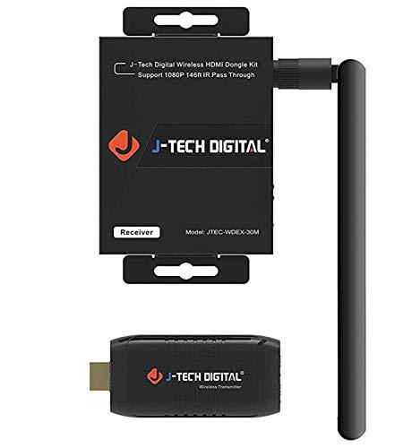 J-Tech Digital Wireless HDMI Dongle | Adapter | Extender Kit 100' Range Wi-Fi 1080p with IR...