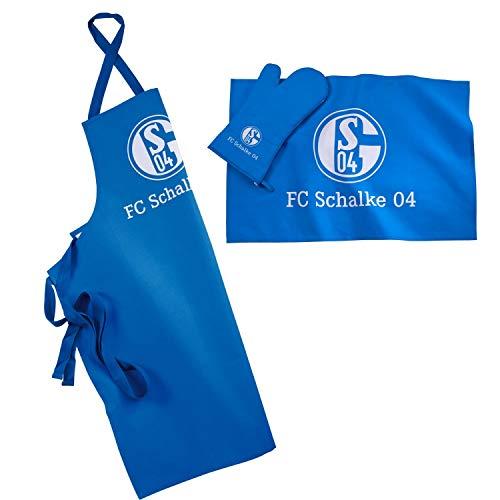 FC Schalke 04 Grillset 3-teilig blau Schürze, Handtuch, Handschuh S04 - Plus Lesezeichen I Love Gelsenkirchen