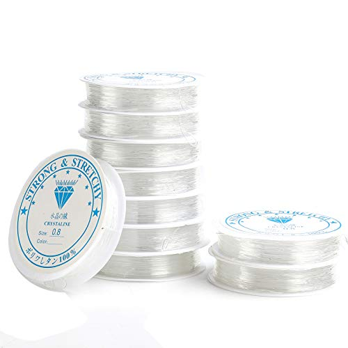 Aicoimy 10 Stück Elastisch Schmuckfaden, 0.8mm Gummifaden Transparent Faden für Perlenschmuck Armbänder Basteln