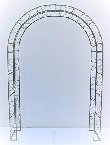 Hirsch Terracotta Rosenbogen Rund aus Metall stabil, Vollmaterial 12 mm mit Edelrost, Rankgitter Breite 165cm Höhe 245cm Tiefe 40 cm, incl. 4 Bodenanker