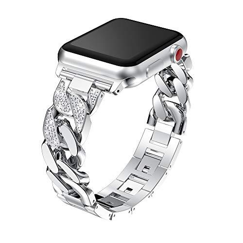 LIUZH Banda de Bling Compatible para Apple Watch Band 38mm 40mm Mujeres Rhinestone Banda de Enlace de Acero Inoxidable Iwatch Series 6/5/4/3/2/1 / SE Pulsera Metal Strap Rose Gold for Women