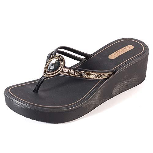 Grendha Women/'s Charm Bow Plastic Slip On Flip Flop Black