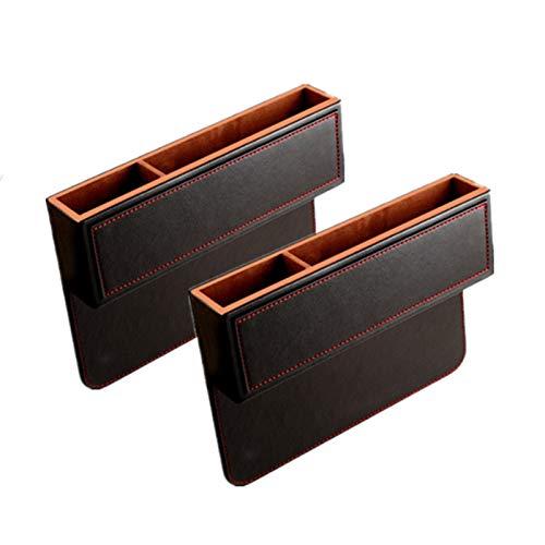 Asientos de Piel de la PU de coches Gap caja de almacenaje Organizador for hendiduras for la carpeta monedas del teléfono del cigarrillo Keys Tarjetas Auto Accesorios Interior ( Color : 2Pcs Black )
