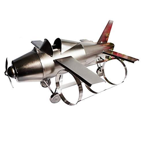 Nologo ZWJ-JJ Flugzeugweinregal mit DREI Flaschen Rotwein Kämpfer Weinregal Metall-Handwerk Hauptdekoration Flugzeug Weinregal Skulptur Weinflaschenhalter Wein Container