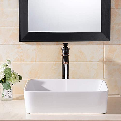 "Comllen Counter White Porcelain Ceramic 18.9""X14.5"" Bathroom Vessel Sink,Art Basin Rectangular Vessel Sink Durable Bathroom Sink"