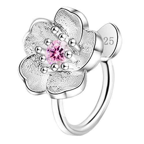 Pendientes de clip para mujer, plata 925, diseño de flor con circonitas, brillantes, color morado