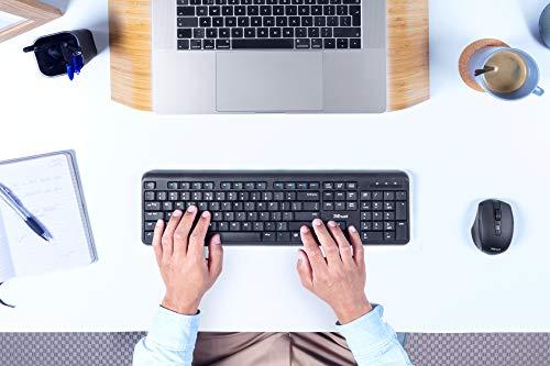 Trust Ymo Kabelloses Tastatur-Maus-Set - Deutsches QWERTZ Layout, Leise Tasten und Maustasten, Spritzwassergeschützt, Funkmaus mit DPI-Taste, USB-Empfänger, PC/Laptop, Windows/macOS - Schwarz