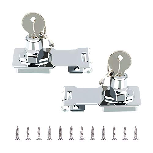 fanshiontide 2 pack Metal Lock Hasp 65mm Door Bolt Latch Buckle with Padlock and Key - Chrome Plated Hardware for Locking Shed Doors Cabinets Boxes Furniture(3inch)