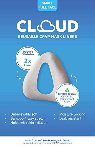 SMALL (See Sizing Chart in Gallery to Insure Best Fit) Fit Cloud Bamboo Organic Fabric Full-Face (NOSE AND MOUTH) CPAP Mask Liner: Superior Comfort, Unbelievably Soft, Machine Washable, 2 Per Pack.
