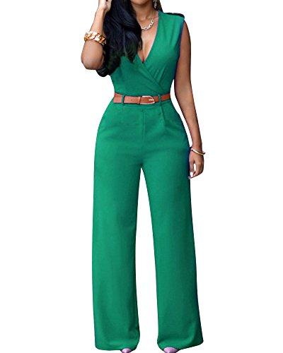 Mujer Cuello En V Monos Fiesta Largos Jumpsuits Sin Mangas Pantalones Anchos Verde XXL