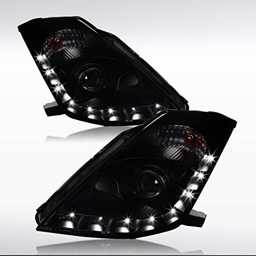 Autozensation For Nissan 350Z Type Black Smoke w/LED DRL Strip Projector Headlights