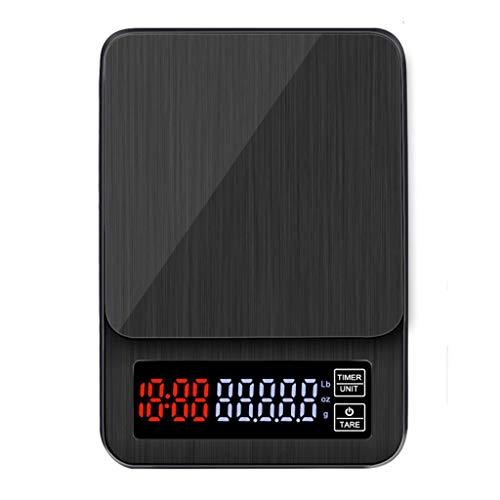 LXYScales Digitale hoge precisie 5 kg 0,1 g LCD-koffieschaal met timer draagbare keukenweegschaal USB, tara-functie goed afleesbaar display keukenweegschaal