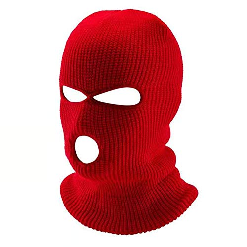 FLYMOON 3 Hole Winter Knitted Mask, Outdoor Sports Full Face Cover Ski Mask Warm Knit Balaclava for Adult - red - One size