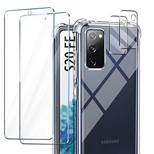 AROYI Funda Compatible con Samsung Galaxy S20 FE 5G, 2 Pack Cristal Templado y 2 Pack Lente de cámara para Galaxy S20 FE 5G, Silicona Suave TPU Carcasa Protección Caso para Samsung Galaxy S20 FE 5G