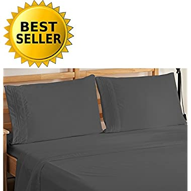 Elegant Comfort 4-Piece Bedding Sheet Set! Luxury Soft 1500 Thread Count Egyptian Quality Wrinkle & Fade Resistant with Deep Pocket, Queen, Gray