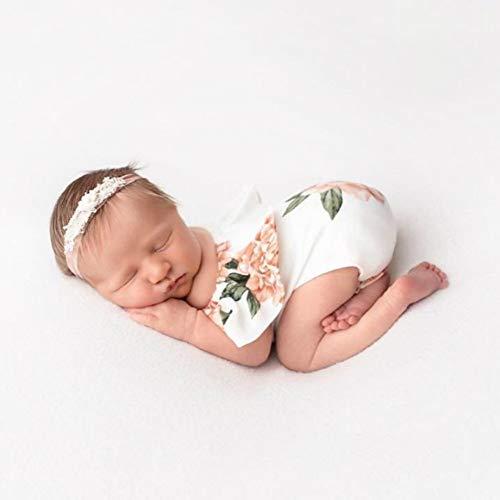 elegantstunning Neugeborenen Fotografie Anzug Boot Schulter Blumendruck Foto Outfits Baby Mädchen Overall Studio Shooting Zubehör weiße Blume Freie Größe