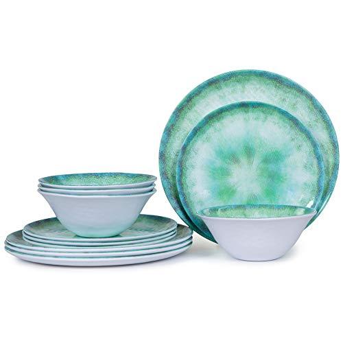 Juego de vajilla de melamina para 4-12 piezas de platos de interior y exterior, platos y cuencos, apto para lavavajillas, ligero, turquesa