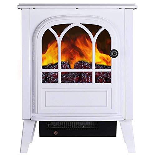Calefactor Chimenea eléctrica chimenea con madera realista 3D efecto de llama de fuego y 2 ajustes de calor - calentador independiente portátil 2000W fuego realista con carbón efecto fuego redelectric