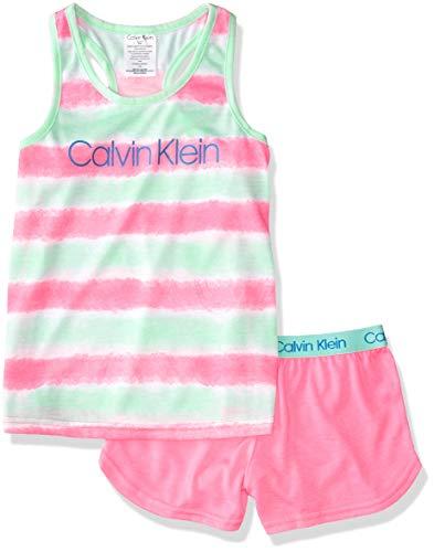 Calvin Klein Girls' 2 Piece Sleepwear T-Shirt and Shorts Pajama Set Pj, Pop Tie Dye, Large 10/12